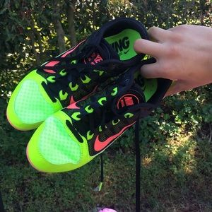 Neon Nike Spikes size 8. With new track spikes